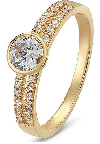 CHRIST Gold Damen-Damenring 375er Gelbgold Zirkonia 58 Gold 32004537