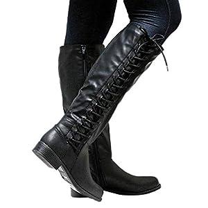 TianWlio Stiefel Damen Leder Reißverschluss Quadrat Ferse Hohe Stiefel Overknee Schuhe Runde Stiefel Black Khaiki Brown 35-43