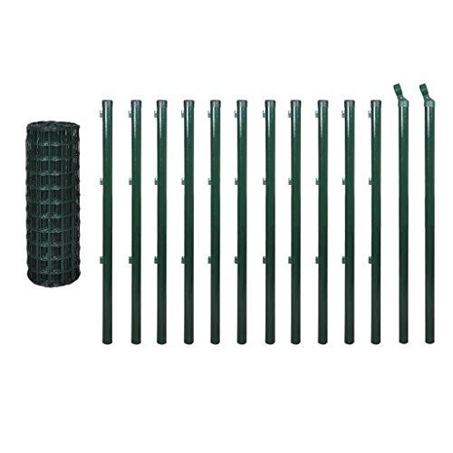 vidaXL Kit de grillage 25 x 0,8 m Clôture de jardin terrasse Bordure de pelouse
