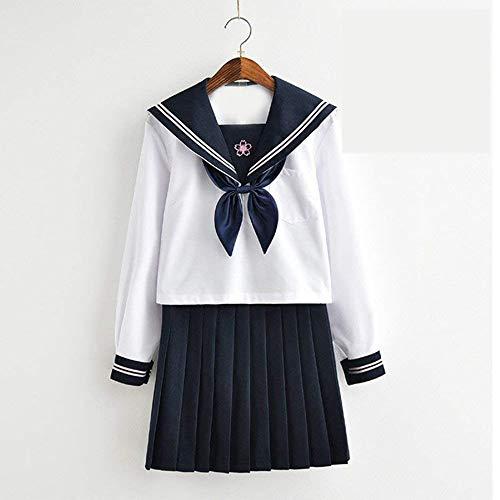 DuHLi Lolita Sailor Suit Uniformen Navy Anzug für Frauen Kansai Studenten Langarm Kostüm Schuluniform für Mädchen,Male,XXL