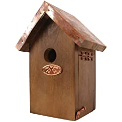 Esschert Design NK06 - Pajarera (20 x 14 x 11 cm, madera y cobre), color marrón