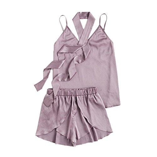 Meigui Krawatte Detail Ärmelloses Leibchen Und Wrap Shorts Pyjama Set Lila V-Ausschnitt Spaghettiträger Zwei Stück, Lila, S