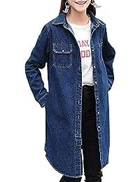 Jacke Damen Frühling Herbst Lang Jeansjacken Elegant Jungen Mode  Beiläufiges Loose Lässige Hipster Outerwear Normallacks Langarm Revers… 1b7f8ded8a