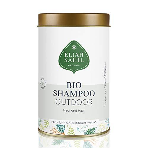 BIO Outdoor Shampoo von ELIAH SAHIL Pulvershampoo für Haut und Haar 100 Gramm - 100{a7e0570169c141532f9bb7fe568902594c55003acda683cfa8d5dac169776c5e} Bio zertifizierte Naturkosmetik - Vegan - Hair & Body für Damen und Herren