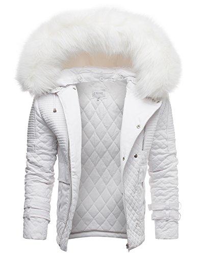 Crone Herren Designer Fellkragen Jacke Pelzkragen Fell Kragen Pelz Winterjacke Fur Biker Jacket in 3 Farben (S, Weiß)