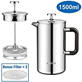 Ecooe Double Walled Cafetiere 1.5 L Stainless Steel French Press Coffee Maker