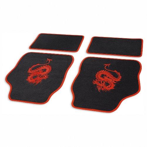 Cartrend 1400-02 Textil Set di tappetini Mystery, rosso, 4 pezzi