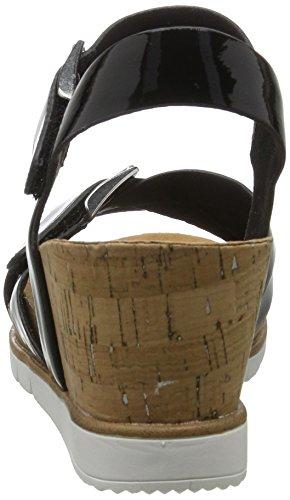 Tamaris 28700, Sandales Bout Ouvert Femme Noir (Black Patent 018)