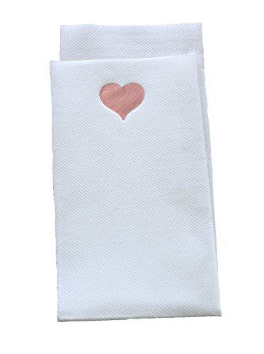 X 20 tovaglioli di carta Airlaid di lusso, 40 x 40 cm-Set di posate pieghevoli, motivo: cuore, colore: