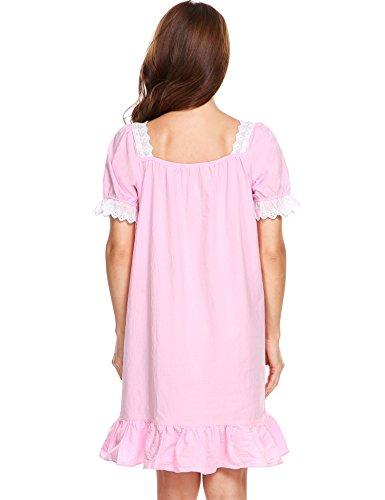 cooshional Retro Nachtkleid damen baumwolle kurzarm Rundhals Vintage Nachthemd Unterwäsche einfarbig Rosa