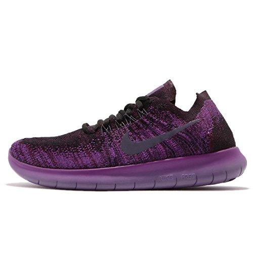 Nike Women's Free Rn Flyknit 2017 Black/Dark Raisin-Deadly Pink Running Shoes (9) - Free Womens Pink T-shirt