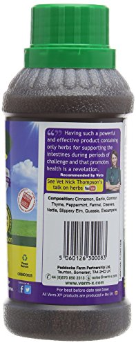 Verm-X Flüssig für Geflügel, 250 ml. Statt chemischer Wurmkur für Hühner, Gänse, Enten, usw. eine natürliche Kontrolle innerer Parasiten mit der bewährten Verm-X Kräuter-Rezeptur. - 3