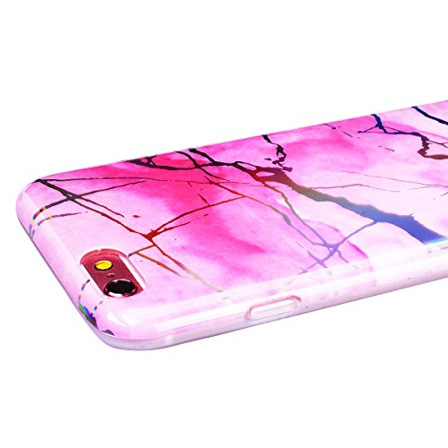 SMART LEGEND iPhone 6 Plus/iPhone 6S Plus Weiche Silikon Hülle Marmor Muster Schutzhülle Hülle Handyhülle Crystal Kirstall Clear Etui Ultra Slim Design Glatt Durchsichtig Weich TPU Handy Tasche Soft C Rot