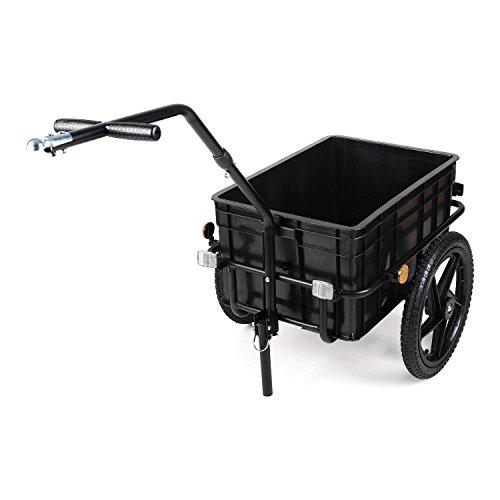 DURAMAXX Big-Mike • Fahrradanhänger • Lastenanhänger • Handwagen • mit Hochdeichsel • Transportbox mit 70 Liter Volumen • Tragkraft: max. 40 kg • Kugel-Kupplung für Fahrräder mit 26'' - 28'' • pulverbeschichteter Stahlrohrrahmen • schwarz - 4