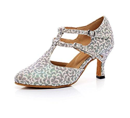 Minitoo ,  Damen Tanzschuhe White/Grey-7.5cm Heel