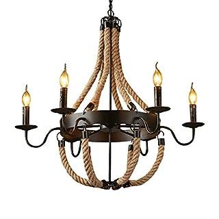 Lingkai Industrial Loft Rustic Black Metal One-Tier Candelabra Style Chandelier Hemp Rope (Six-Lights)