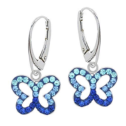 Kristall Schmetterling Brisur Ohrringe 925 Echt Silber Mädchen Kinder Ohrhänger (Blau)