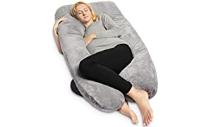 QUEEN ROSE Full Body Pregnancy Pillow & Maternity Pillow with Replaceable and Washable Cover (140 x 78 cm, Velvet, Grey)