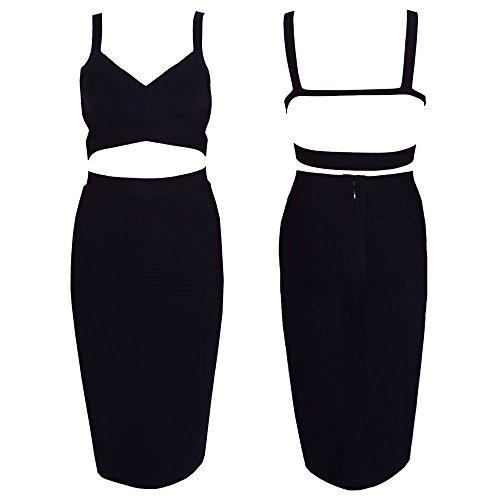 HLBandage 2 Piece Set Solide De Couleur Genou Bandage Dress Noir