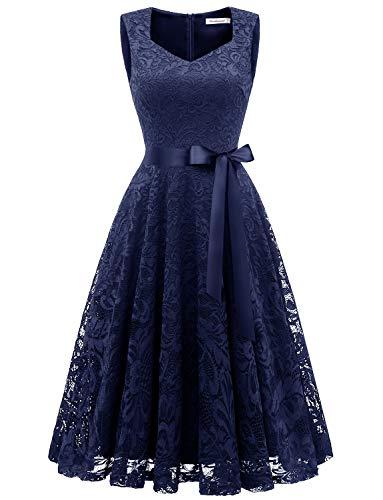GardenWed Damen Elegant Spitzenkleid Strech Herzform Abendkleid Cocktailkleider Partykleider Navy L - Hochzeits-abend-kleid
