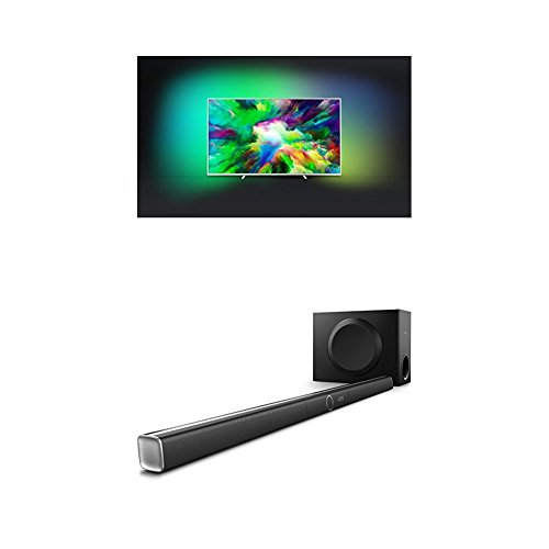 Philips 75PUS7803/12 75-Inch 4K Ultra HD Android Smart TV with HDR Plus, 3-sided Ambilight and Philips HTL5160B/12 3.1 Streaming-Soundbar