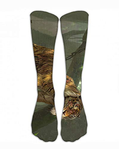 Jxrodekz Crew Sock Jungle Fierce Tiger in Forest Crew Athletic Socks Fashion Personalized Novelty Funny Strümpfe Men Women