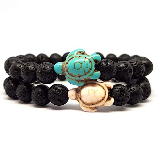 KARDINAL.WEIST Naturstein Perlenarmband aus Lava-Stein mit Howlith Schildkröten Perle, Surfer-Armband für Damen und Herren, Yoga Armband (3 - Partnerarmband)