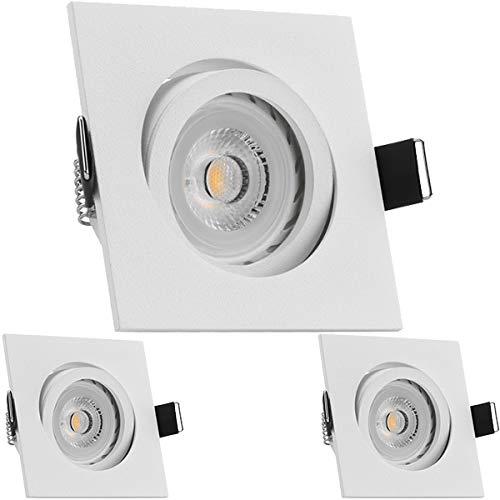 3er LED Einbaustrahler Set Weiß matt mit LED GU10 Markenstrahler von LEDANDO - 7W - warmweiss - 30° Abstrahlwinkel - schwenkbar - 50W Ersatz - A+ - LED Spot 7 Watt - Einbauleuchte LED eckig