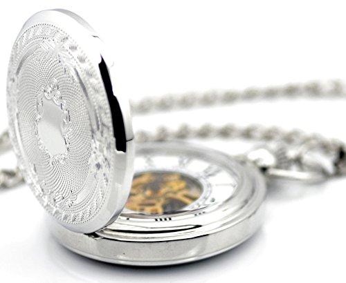 Unendlich-U-Retro-Handaufzug-Mechanische-Taschenuhr-Luxus-Schild-Hohle-Skelett-Kettenuhr-Pullover-Halskette-Silber
