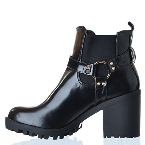 PLATEFORME POUR FEMME À TALONS ÉPaIS BLOC BOUCLE CHELSEA BOTTINES POINTURE - Black Hi Shine Faux Leather