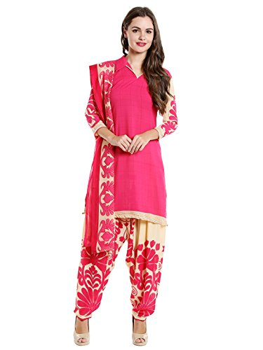 Ishin Women's Synthetic Dress Material (Ddrrjgr-Rmzm9112_Pink_Free Size)