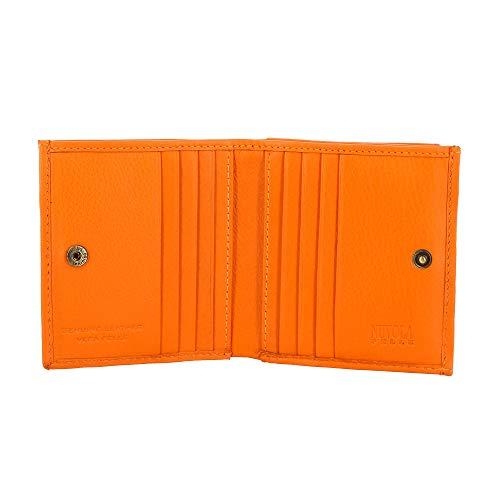 Petit Portefeuille pour Homme en Cuir avec Porte-Monnaie et Porte-Cartes de crédit de Nuvola Pelle Orange