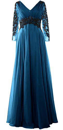MACloth Women V Neck Mother of the Bride Dress Long Sleeve Formal Evening Gown Teal