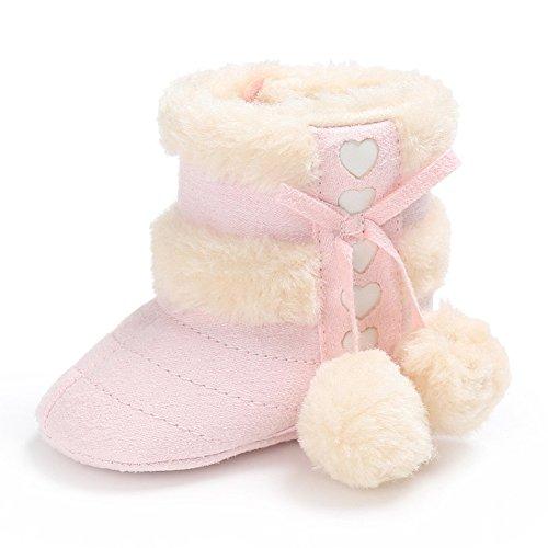 TININNA Bébé Bambin Hiver Chaud Neige Bottes Doux Antidérapant Unique Pom Pom Bottes Peluche Bébé Prewalker Lit de Bébé Chaussure pour 0-6 Mois Bébé Garçons Rose