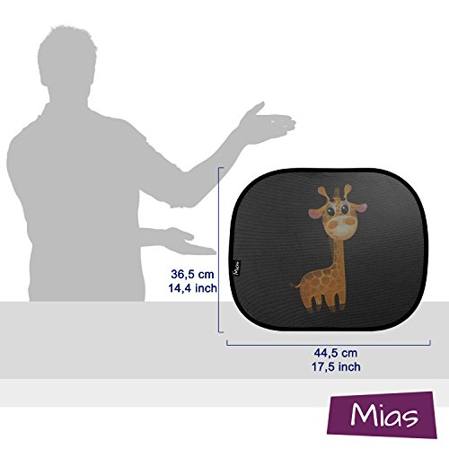 Mias 2 pack sun visor for car windows, with cute giraffe motif, 43 x 35,5 cm – sun protection for children /baby/ side windows – with two year money back guarantee