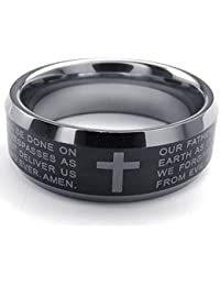 Mens Tungsten Ring, 8mm Cross English Lords Prayer Band, Black Silver with Gift Bag