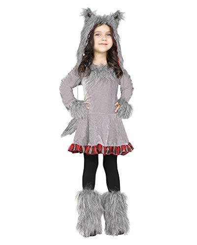 Horror-Shop Graues Wolf Kostüm Tier Verkleidung für Kleinkinder L