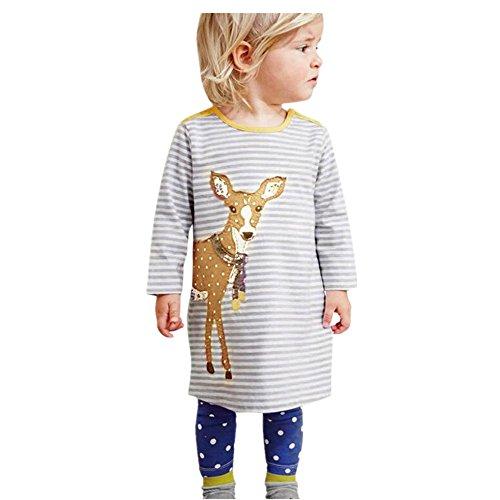 JERFER Mädchen Crewneck Langarm Casual Karikatur Stickerei Party T-Shirt Kleid Kinderkleider Festliche 2-8 T/Jahre (A, 6T)