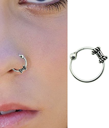 Pcm Silver Nose Pin Plain Antique 92.5 Sterling Silver Nose Pin/Ring For Women