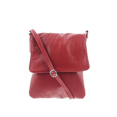 IO.IO.MIO ital. echt Leder Schultertasche Umhängetasche Crossover Bag Citytasche klein freie Farbwahl , 17x20x3 cm (B x H x T) (rot) (X-stil-crossover)