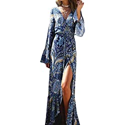 KE1AIP Womens Boho flojo cuello en V de playa de encubrimiento de manga larga lado vestido de vestir impreso bandage ajustable Maxi vestido Lago Azul