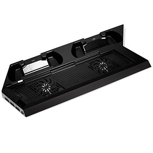 Amir Ladestation für PS4 DualShock, 4-in-1 PlayStation 4 Vertical Standfuß, Ladestation für DualShock 4 Controller, Vertikalständermit zusätzlichen 3 USB-Ports & Kühlvorrichtung & Controller Ladegerät ( Nicht für PS4 Slim oder Pro.)