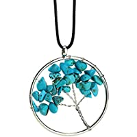 LUFA Grava natural colgante del diseño árbol de la vida de la Ronda en forma de collar 7 colores