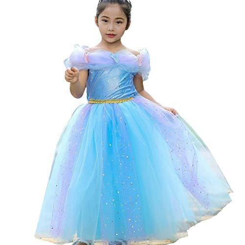 Elsa Kleinkind Für Kostüm - Prinzessin Belle Aurora Aschenputtel-Kostüm für kleine Mädchen und Kleinkinder, blau