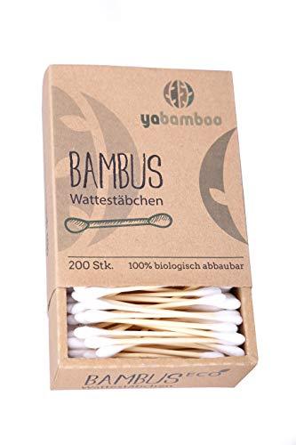 yabamboo Bambus Wattestäbchen 2er Pack (400 Stück) l 100% biologisch abbaubar, nachhaltig & vegan I kompostierbar I ohne Plastik 2er Pack Bambus