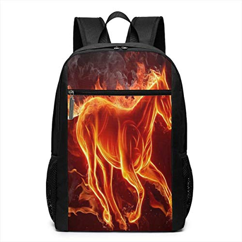 TRFashion Rucksack Animal Fire Horse 17 Inch Outdoor Canvas Travel Hiking Laptop Backpack Schoolbag Book Bag for Men Women Black - Notebook-tasche Spade Kate