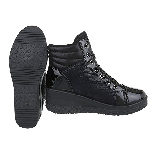 3a33e86639e1 High-Top Sneaker Damenschuhe High-Top Keilabsatz  Wedge Keilabsatz  Schnürsenkel Ital-Design ...