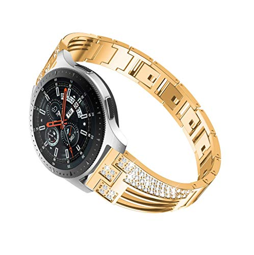 Galaxy Watch 46 Armband Edelstahl Armband mit Diamant Strassstein Deko für Samsung Galaxy Watch 46mm mit Schnellverschluss Ersatzarmband für Frauen (Gold) ()