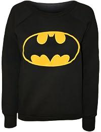 Papermoon - Damen Batman Logo Bedruckt Langarm Pullover Top - Schwarz - 36-38
