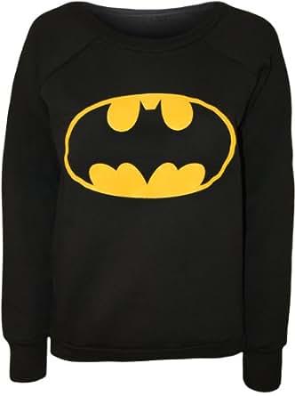 PaperMoon - Papermoon - Pull simple à manches longues avec l'image du logo de Batman - Pulls - Femme - Noir - 36-38